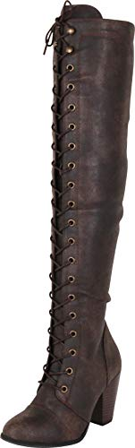 Cambridge Select Women's Closed Toe Lace-up Chunky Stacked Heel Over The Knee Boot,8.5 B(M) US,Brown PU