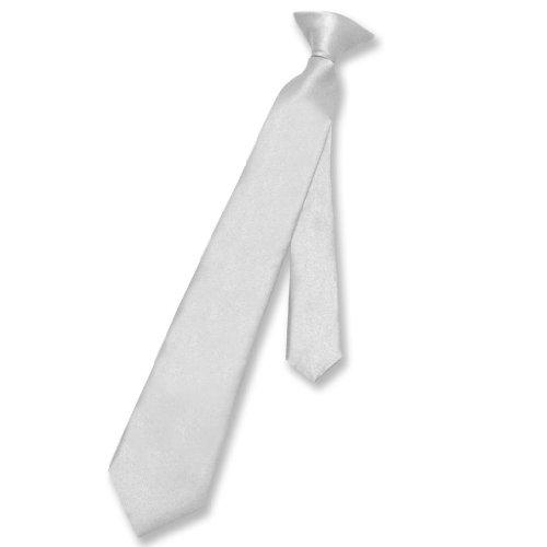 Vesuvio Napoli Boy's CLIP-ON NeckTie Solid SILVER GREY Color Youth Neck Tie