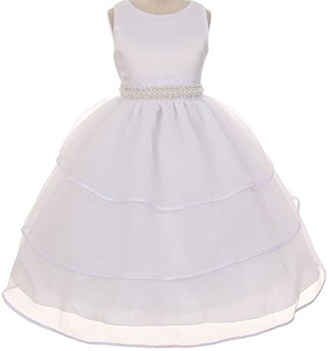 Little Girls Sparkle Pearl Beading Waistline Flowers Girls Dresses White 4