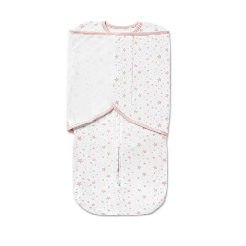 BreathableBaby Premium Cotton Swaddle Trio | 3 in 1 Swaddle | Fits at every stage of Swaddling | Arms up, down and out | 0-4 months | Pink Star