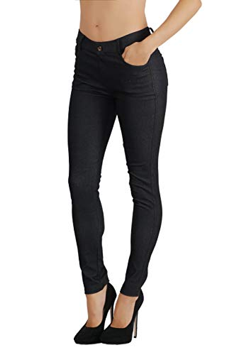 Fit Division Women's Jean Look Cotton Blend Jeggings Tights Slimming Full Lenght Capri and Classic Bermuda Shorts Leggings Pants S-3XL (M US Size 6-8, FDJN827-BLK)