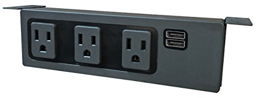 Under The Desk/Table Power Center - 3 Outlets & 2 USB 3.1 Amp Ports (Black)