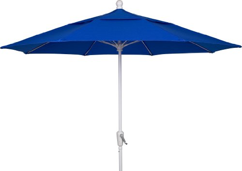 FiberBuilt Umbrellas Patio Umbrella, 7.5 Foot Pacific Blue Canopy and White Pole (Beach Fiberbuilt Umbrella)