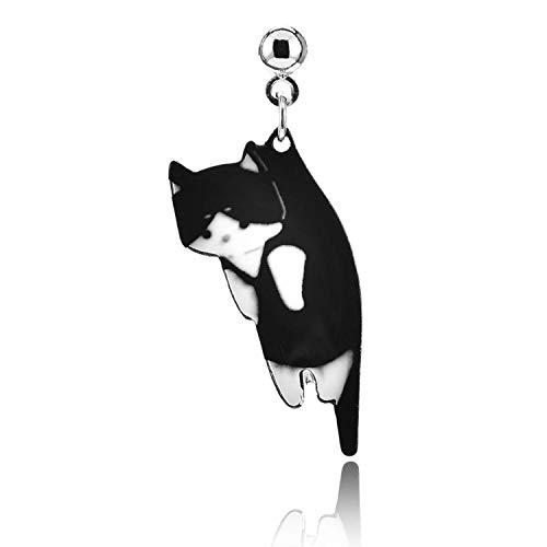 White Nordstrom Ring - 1 pair 2018 New Cute cat earrings white black white hang enamel kitty Ear stud,black cat
