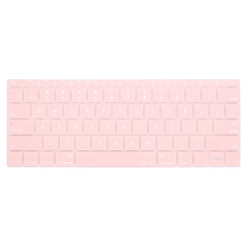 MOSISO Silicone Keyboard Cover Compatible MacBook Pro 13 Inch 2017 & 2016 Release A1708 Without Touch Bar, MacBook 12 Inch A1534 Protective Skin, Rose Quartz