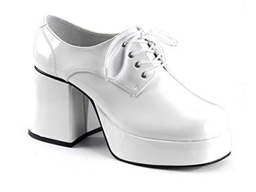 8 White Silver Retro 70s Disco Platform Shoes ktc Fancy Dress Saturday Night Fever