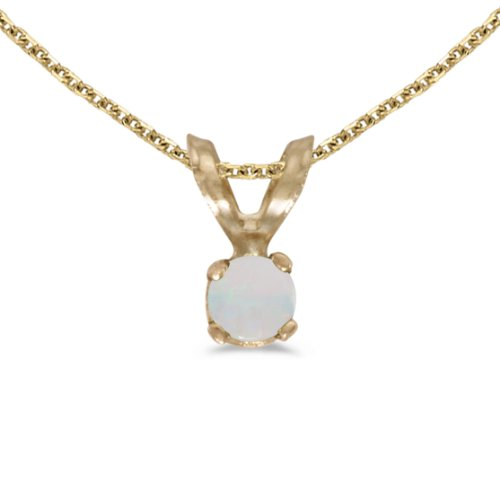 Jewels By Lux 14k Yellow Gold Genuine Birthstone Round Opal Pendant (0.04 Cttw.)