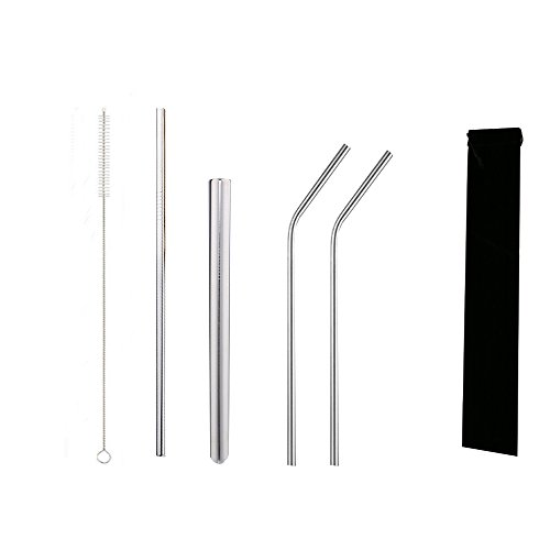 Wide Beverage (Yemate Stainless Steel Drinking Straws, A Variety of Stainless Steel Straw Set of 4 for Many Different Beverage (Extra Long & Extra Wide & Bend))