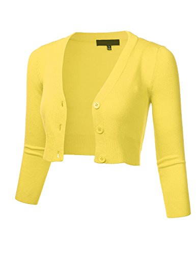 FLORIA Women Solid Button Down 3/4 Sleeve Cropped Bolero Cardigan Sweater BABYYELLOW - Front Short Button Jacket