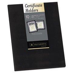 * Certificate Holder, Black, Linen, 105 lbs., 12 x 9-1/2, 10/Pack *