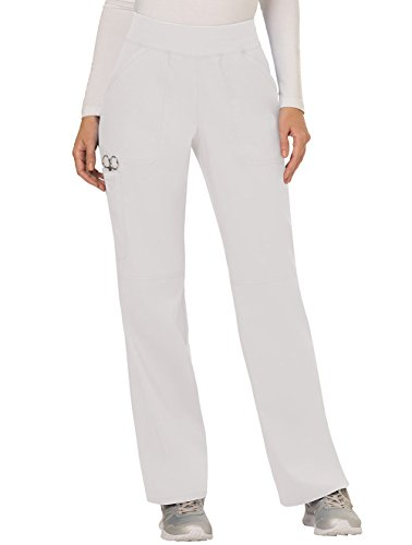 Cherokee Women's Mid Rise Straight Leg Pull-on Pant, Large Petite, White