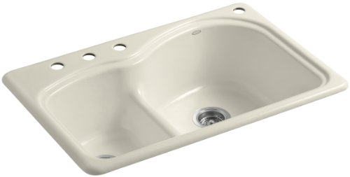 Kohler K-5839-4-47 Woodfield Smart Divide Self-Rimming Kitchen Sink with Large/Medium Basins and Four-Hole Faucet Drilling, - Store Woodfield