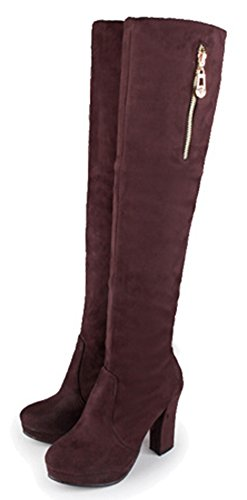Fashion Brown Boots Suede Heels Faux Womens High Chunky High IDIFU Platform Knee Long Over 5gOBTqwxB7
