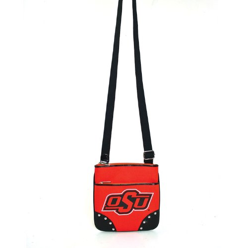 Oklahoma State University Canvas Cross-Body Bag with Studded Patent Leather Trim, Bags Central
