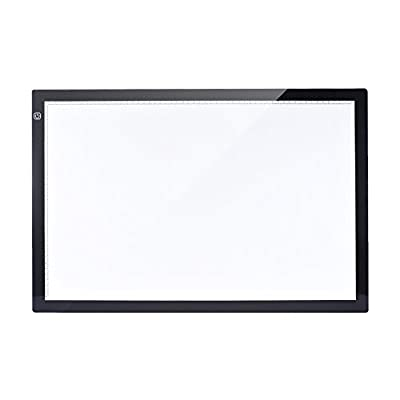 KKmoon A2 60 40cm 26 inch LED Artist Stencil Board Tattoo Drawing Tracing Table Display Light Box Pad LED Copy Board Intelligent Touch Control 3 Adjustable Brightness Levels