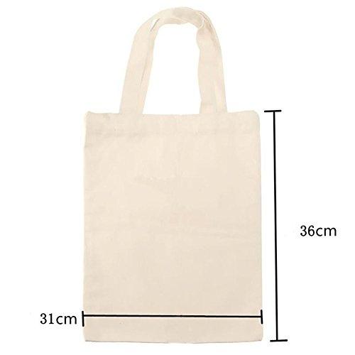 L tela crema 31 36 Borsa in shopping grande con naturale bianco cotone shopper shopping tracolla Kiicn wOp41