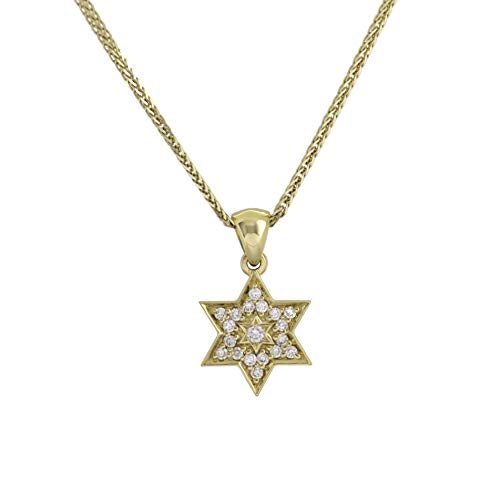 14k yellow gold Star of David within a Star of David pendant with nineteen small diamonds made in Israel