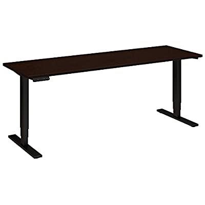 Move 80 Series by Bush Business Furniture 72W x 24D Height Adjustable Standing Desk in Mocha Cherry Satin with Black Base