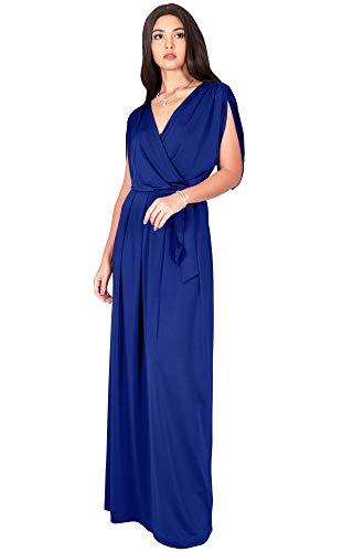 (KOH KOH Plus Size Womens Long Semi-Formal Short Sleeve V-Neck Full Floor Length V-Neck Flowy Cocktail Wedding Guest Party Bridesmaid Maxi Dress Dresses Gown Gowns, Cobalt/Royal Blue 4XL 26-28)