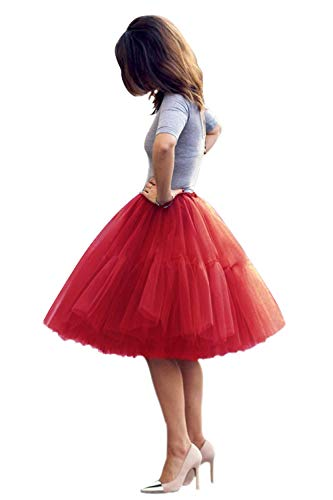 Women Knee Length 50s Petticoat Skirts Crinoline