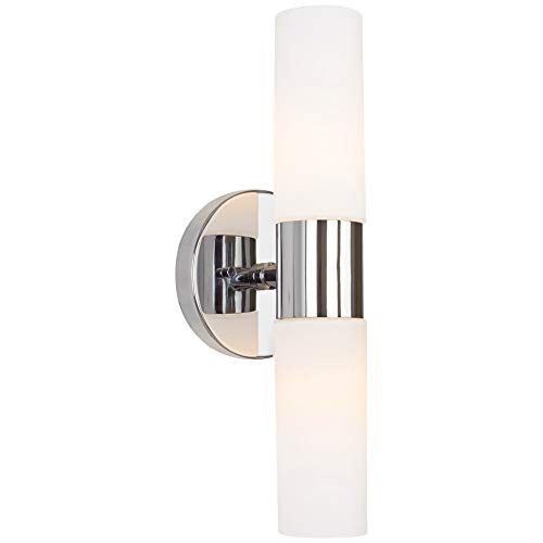 """Kira Home Duo 14"""" Modern 2-Light Wall Sconce with Frosted Glass Shades, for Bathroom/Vanity, Chrome Finish"""