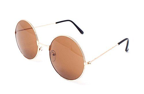 Gold Frame with Brown Lenses Adults Retro Round Sunglasses John Lennon Style Vintage Look Quality UV400 John Lennon Style for Men - Circular Glasses Framed
