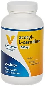 AcetylLCarnitine 500mg Supports Healthy Brain Memory Function, Promotes Energy Production Carnipure Offers Purest Form of LCarnitine 240 Capsules by The Vitamin Shoppe
