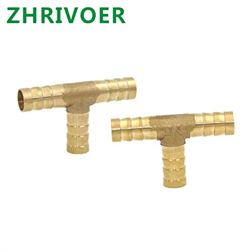 Xucus T Way T-Shape 4mm 5mm 6mm 8mm 10mm 19mm Hose Copper Pagoda Water Tube Fittings Brass Barb Pipe Hose Fitting 3 Way Connector for Color: 3 Way, Size: OD 12mm