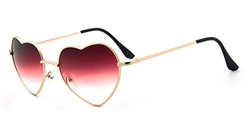 Rouge Femmes Pour Uv400 De Vintage Coeur Retro Couleur Dames Les Bozevon En Soleil transparent Gradient Forme Lunettes Mode qaf176