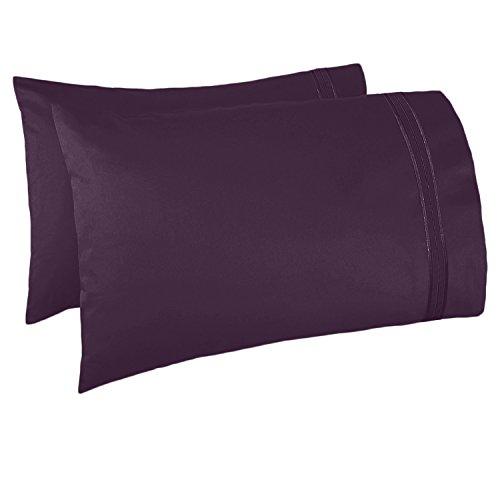 (Nestl Bedding Set of 2 Premium Pillowcases – Luxury Super Soft 100% Double Brushed Microfiber, Hypoallergenic & Breathable Design, Soft & Comfortable Hotel Luxury – Standard/Queen - Purple Eggplant)