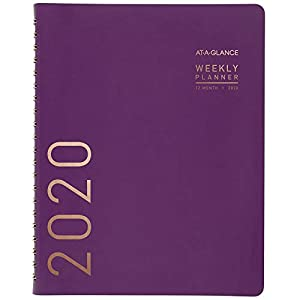 "AT-A-GLANCE 2020 Weekly & Monthly Planner/Appointment Book, 8-1/4"" X 11"", Large, Contemporary, Purple (70940X59)"