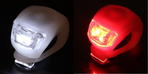 Lot 30 x Waterproof SILICON LED BIKE LIGHT SET 2LED Front +Rear Safety Light