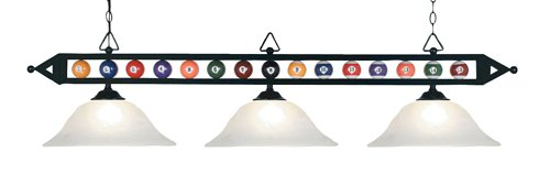 Elk 190-1-Bk-G1 Designer Classics 3-Light Billiard Light, 14-Inch, Matte Black With White Faux Alabaster Glass Shades