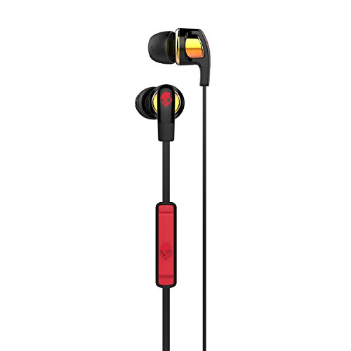 Skullcandy Smokin' Buds 2 Noise Isolating Earbuds with In-Line Microphone and Remote, Moisture Resistant, Oval-Shaped and Angled for Long-Term Comfort, Spaced Out/Orange Iridium
