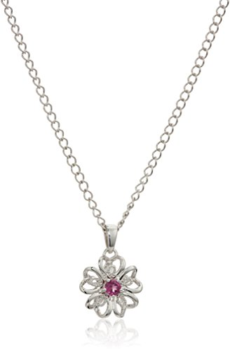 Sterling Silver Pink Tourmaline Flower Pendant Necklace, -