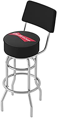 Trademark Global Budweiser Bowtie Red/Black Padded Bar Stool with Back