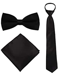 Boys Bow Tie Pocket Square Necktie - 3 Piece Set for Kids with Wedding Praty