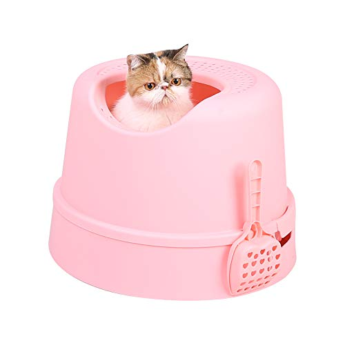 PetnPurr Top Entry Cat Litter Box with Lid and Scoop – Large, Pink