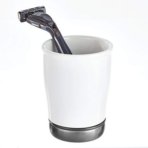 (InterDesign York Tumbler, Makeup Brush Toothbrush Holder for Bathroom, Countertop, Desk, and Vanity, Black Nickel and Matte White)