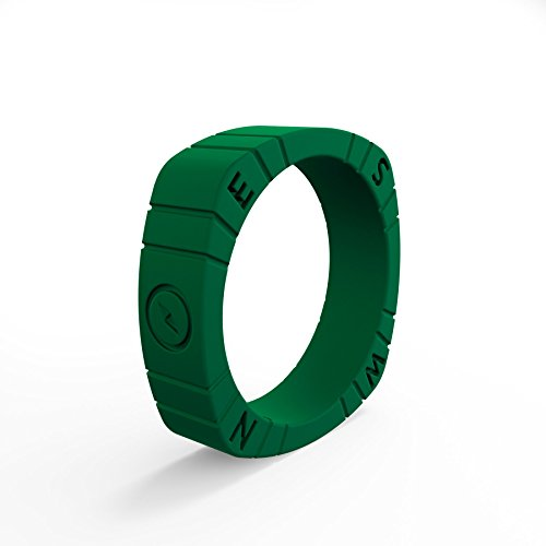 (Women's Forest Green Compass Silicone Ring Size 04)