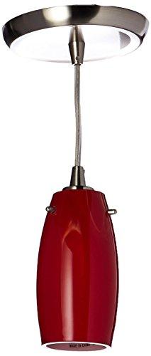 Elk 10223/1CHE-LED Favelita 1-LED Light Mini Pendant with Cherry Shade, 3 by 6-Inch, Satin Nickel Finish