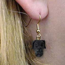 Great Dane Earring - Conversation Concepts Great Dane Black Uncropped Earrings Hanging