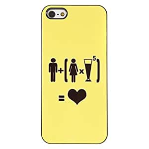 Man Plus Woman and 5 Drinks Equals Love Pattern PC Hard Case with 3 Packed HD Screen Protectors for iPhone 5/5S