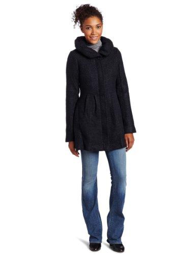 CoffeeShop Women's Textured Wool Coat with Hood, Black/Navy, XL