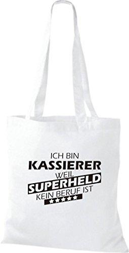 Shirtstown Bolso de tela Estoy Kassierer, weil Superheld sin Trabajo ist Blanco