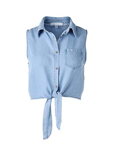 (Dream Supply Women's Button Down Crop Top Sleeveless Shirts Waist Tie Front Tencel Denim Shirts)