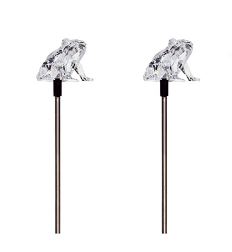 Solar Powered Frog Garden Stake Outdoor Color Change Lights (Set of 2)