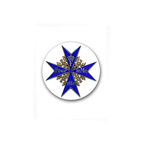 Pour le Mérite Valor Award Frederick The Great Kingdom of Prussia for Merit Medal Military Badge Emblem for Audi A3 BMW VW Golf GTI Mercedes (7x7cm) - Sticker Wall Decoration