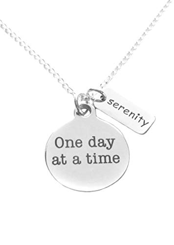 (Heart Projects AA 12 Step Alcoholics Anonymous Stainless Steel One Day at a Time Charm and Sterling Silver Serenity Tag Charm and Necklace 18