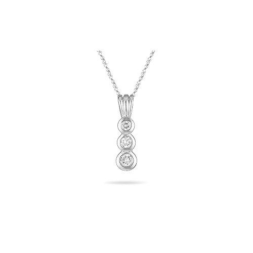 0.20-0.25 Cts SI2 - I1 clarity and I-J color Diamond Three Stone Pendant Bezel Set in 18K White Gold